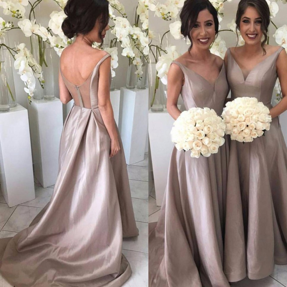 Bridesmaid Dresses Simple A Line V Neck Straps Sweep Train Dress With Pleats