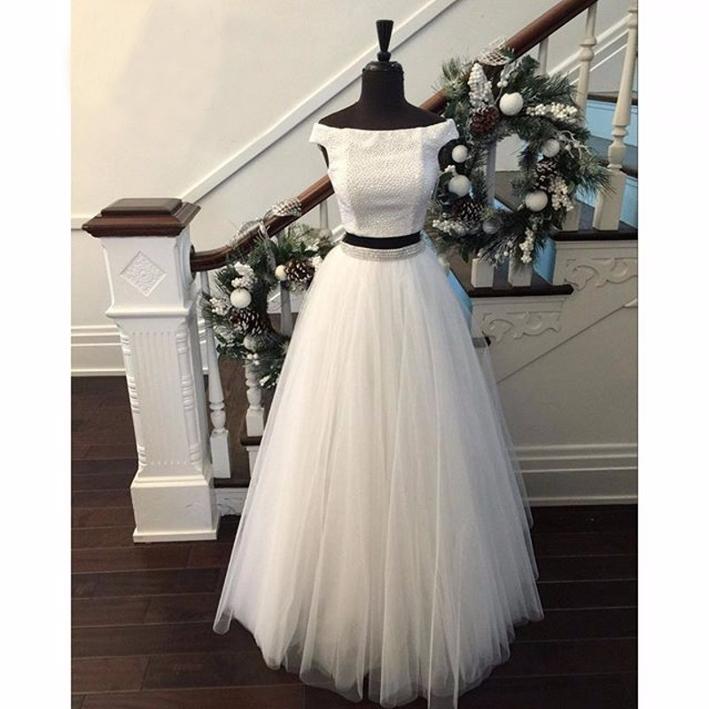 9ec32702f18 prom Dresses New Arrival Two Piece Prom Dress - Off-the-Shoulder Tulle with