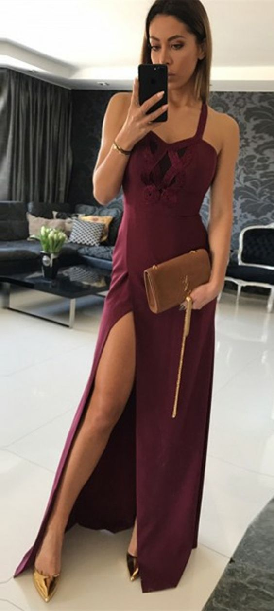ead12b5fecd Sexy Burgundy Prom Dress With Slip