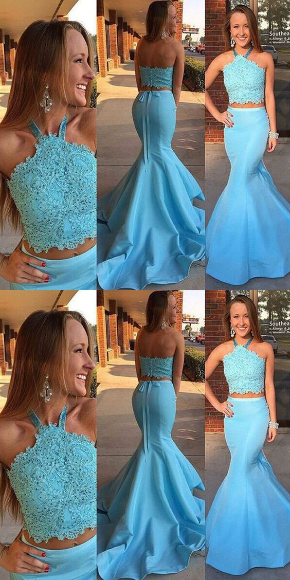 7293975880a81 Mermaid Halter Sash Two Piece Party Dress, Fashion Light Blue 2 Piece Prom  Dress With Lace Beading B0453