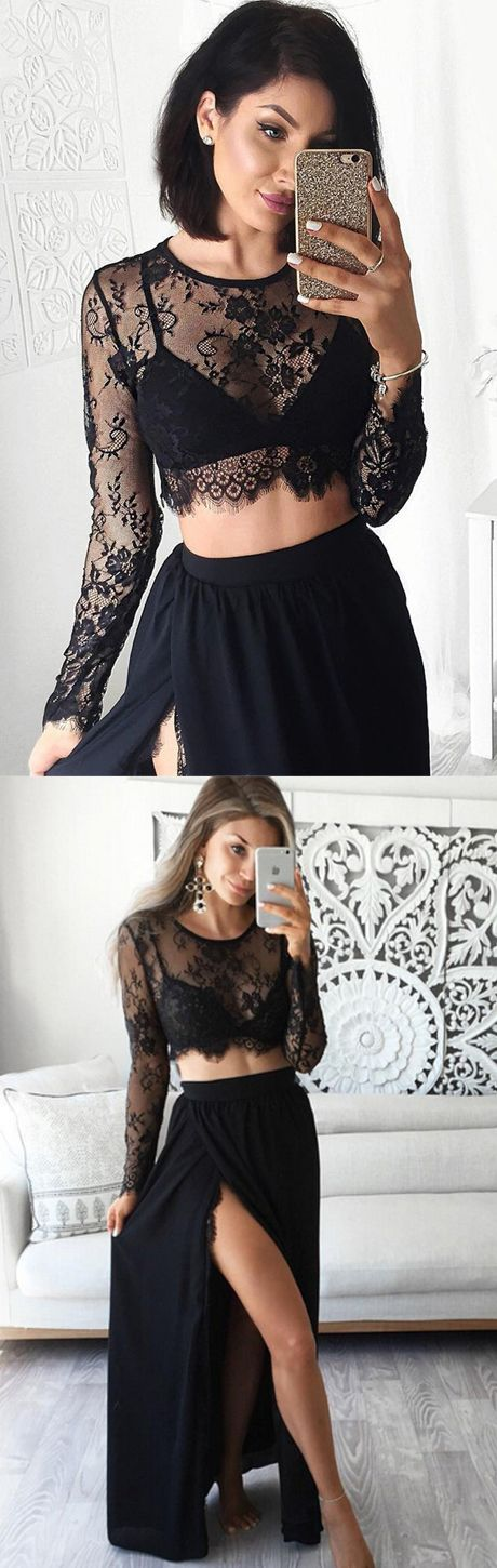8d37dcfda1112 Stunning Two Piece Jewel Long Sleeves Black Prom Dress with Lace Top prom,prom  dress,long prom dress B0672