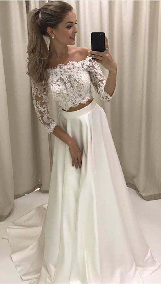 8eb0c65575f83a elegant two piece off the shoulder prom dress with lace, fashion 2 piece  off the