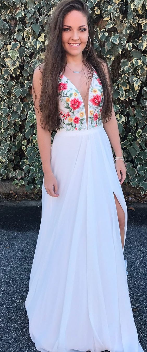2b4a86cea fashion v-neck white chiffon prom dress with embroidery, beautiful strap  flower chiffon evening