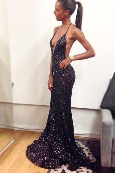 Black Sequin Ball Gown