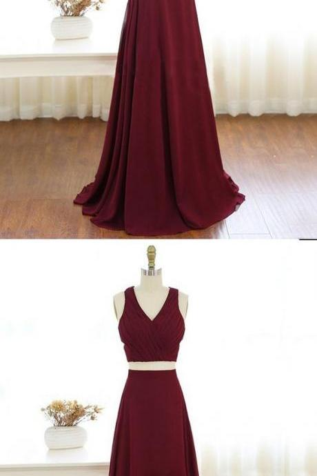 Prom dresses,long prom party dresses, cheap 2 pieces party dresses,chic V- neck party dresses B0006
