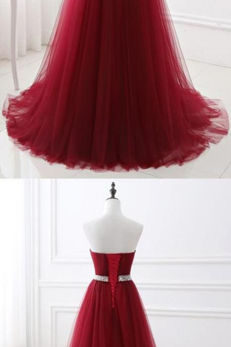 Sexy A-Line Sleeveless Burgundy Long Prom Dress B0797