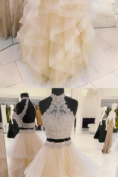 New Arrival Two-Piece Halter Champagne Tulle Long Prom/Evening Dress with Appliques B0836