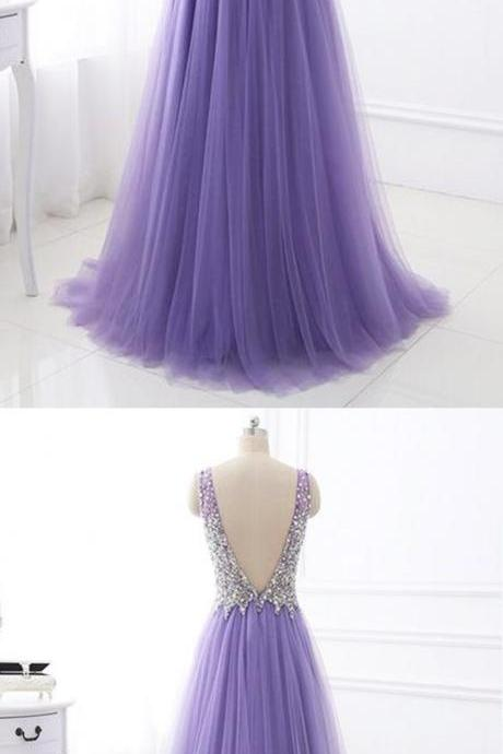 s Purple tulle V neck silver beaded long evening dress, purple halter prom dress