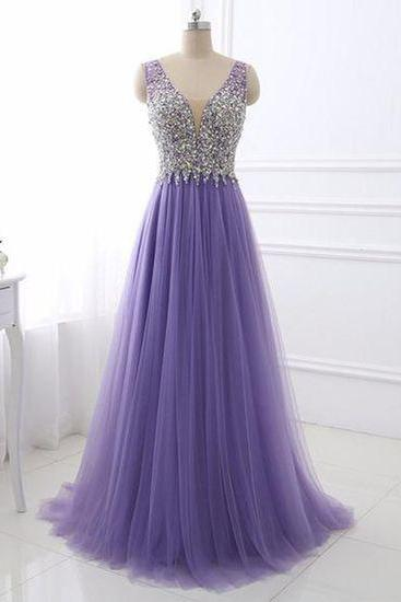 Purple tulle V neck silver beaded long evening dress, purple halter prom dress